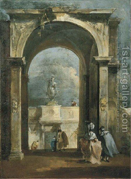 An architectural capriccio with elegant figures and a classical arch, a statue above a portico in the distance by Francesco Guardi - Reproduction Oil Painting