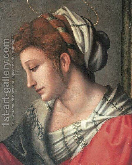 A female saint, bust-length, in a red dress with a white headdress by (circle of) Ubertini, (Bacchiacca) - Reproduction Oil Painting