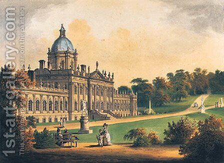 Castle Howard, Yorkshire by Francis Nicholson - Reproduction Oil Painting