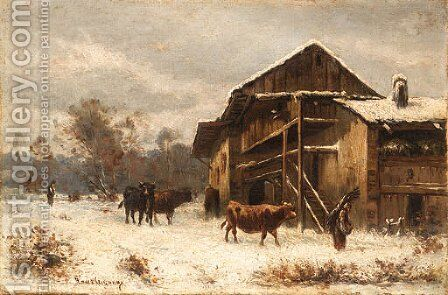 Winter on the Farm by Marie-Regis-Francois Gignoux - Reproduction Oil Painting
