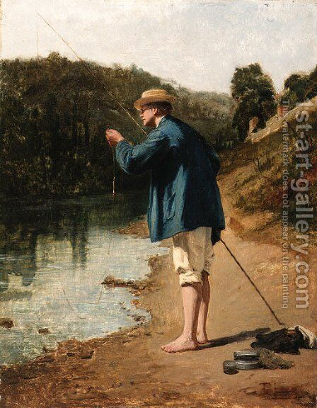 Le pecheur by Theophile (Francois Theophile Etienne) Gide - Reproduction Oil Painting