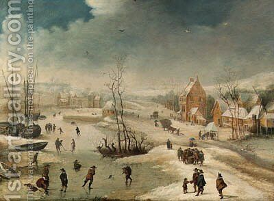 A village in winter with figures skating on a frozen river by Frans de Momper - Reproduction Oil Painting