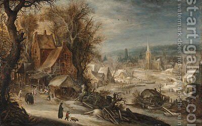 A winter river landscape with a town by Frans de Momper - Reproduction Oil Painting