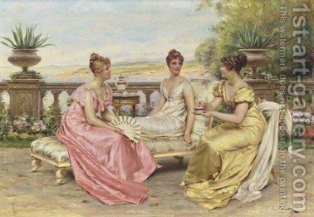 An Idle Afternoon by Charles Joseph Frederick Soulacroix - Reproduction Oil Painting