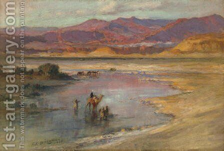 Crossing an Oasis, with the Atlas Mountains in the Distance, Morocco by Frederick Arthur Bridgman - Reproduction Oil Painting