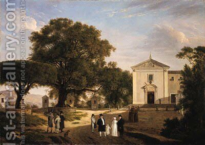 A view of the town square of Albano with monks walking before a Franciscan church 2 by French School - Reproduction Oil Painting
