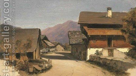 A village street in an Alpine landscape by French School - Reproduction Oil Painting