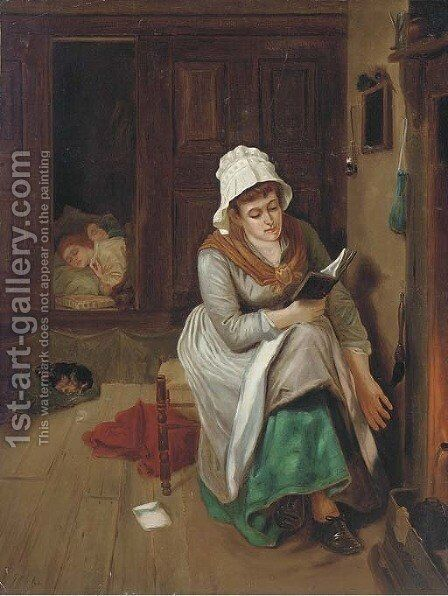 A quiet read by the fire by Edward William Cooke - Reproduction Oil Painting