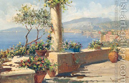 A Sunlit Mediterranean Terrace by Gaetano Esposito - Reproduction Oil Painting