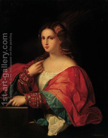 Portrait of a lady, three-quarter-length, in red and blue robes by Giuseppe Mazzolini - Reproduction Oil Painting