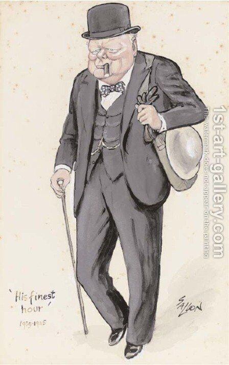 His finest hour Churchill in distinctive pose by Robert Gallon - Reproduction Oil Painting