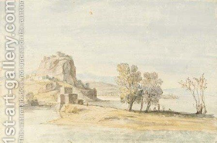 A fortified village on an isthmus by Caspar Andriaans Van Wittel - Reproduction Oil Painting