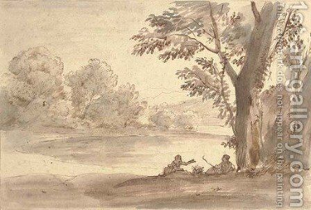 A lake on the edge of a wood with two figures by a tree by Caspar Andriaans Van Wittel - Reproduction Oil Painting