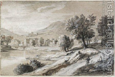 An extensive river landscape with travellers, mountains in the distance by Caspar Andriaans Van Wittel - Reproduction Oil Painting