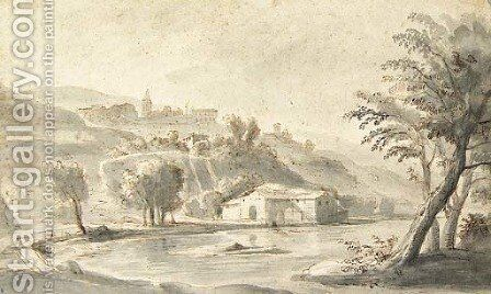 An Italian village on a hill seen from a river bank by Caspar Andriaans Van Wittel - Reproduction Oil Painting