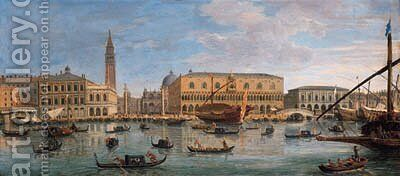 The Bacino di San Marco, Venice, looking towards the Doge's Palace and the Piazzetta, with the Bucintoro and other shipping by Caspar Andriaans Van Wittel - Reproduction Oil Painting
