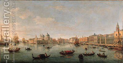 The Bacino di San Marco, Venice, looking west towards the mouth of the Grand Canal, the Doge's Palace, the Piazzetta, and the Redentore by Caspar Andriaans Van Wittel - Reproduction Oil Painting