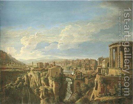 A view of Tivoli with the Temple of Vesta by Caspar Andriaans Van Wittel - Reproduction Oil Painting