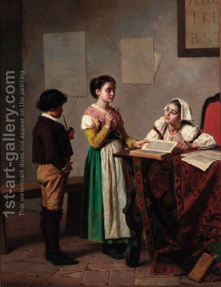 Impersonating the teacher by Gregorio Guglielmi - Reproduction Oil Painting