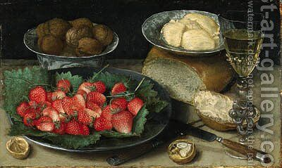 Strawberries on a Plate, Walnuts in a porcelain Bowl, Butter on a Plate, a Loaf of Bread, a faon de venise Wine Glass, a Knife and a Fork on a Table by Georg Flegel - Reproduction Oil Painting