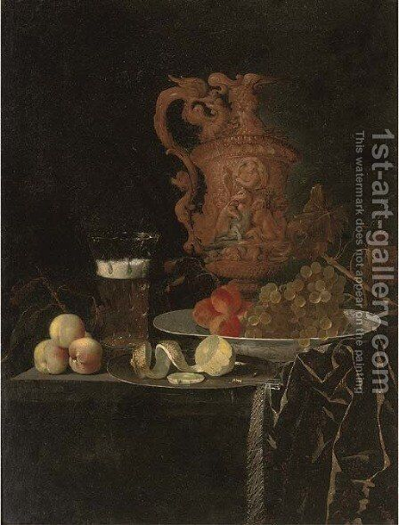 A gilt ewer, a roemer of beer, peaches, a partly-peeled lemon on a pewter tray, and grapes and peaches in a porcelain dish on a partly-draped table by Johann Georg (also Hintz, Hainz, Heintz) Hinz - Reproduction Oil Painting