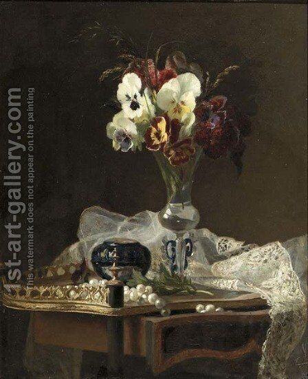 A still life with violets in a Venetian vase by Henry George Todd - Reproduction Oil Painting