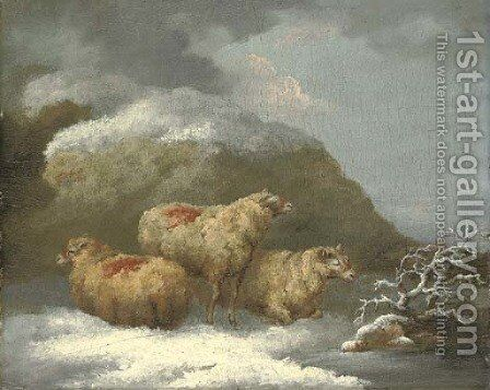 Sheep in a winter landscape by George Morland - Reproduction Oil Painting