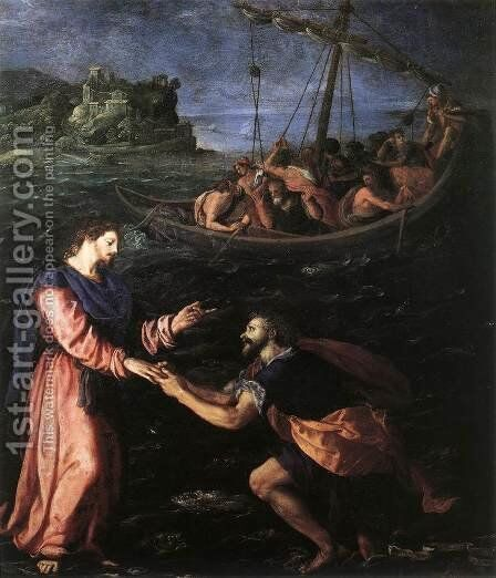St Peter Walking on the Water 1590 by Alessandro Allori - Reproduction Oil Painting