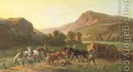 Transporting logs through the hills by German School - Reproduction Oil Painting