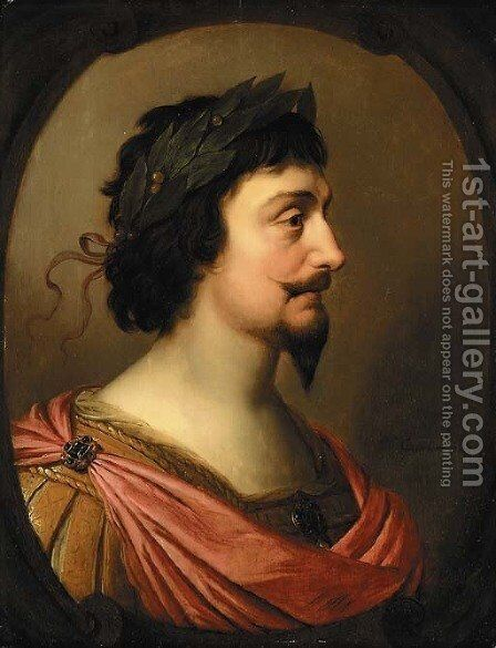 Portrait of King Frederick V of Bohemia, bust-length, in profile, a la Romaine, in a feigned oval cartouche by Gerrit Van Honthorst - Reproduction Oil Painting