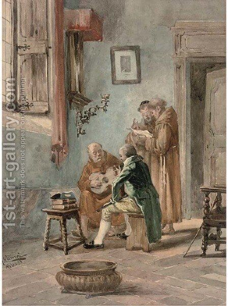 The guitar lesson by Giulio Campi - Reproduction Oil Painting