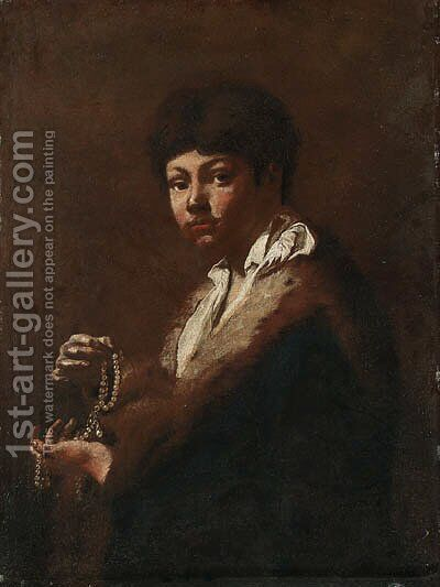 A Youth, half-length, holding a String of Pearls by Giovanni Battista Piazzetta - Reproduction Oil Painting