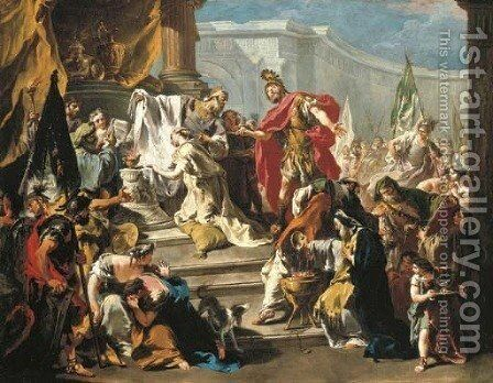 The Sacrifice of the daughter of Jephthah by Giovanni Battista Pittoni the younger - Reproduction Oil Painting