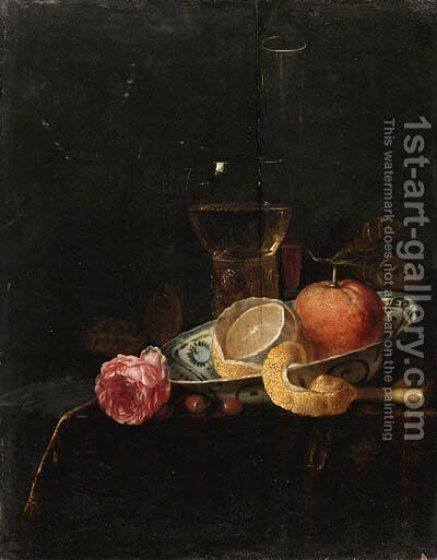 A partly peeled lemon and an orange in a blue and white Wanli 'kraak' porselein dish, a roemer  a wineglass and a rose on a draped table by Jacob van Hulsdonck - Reproduction Oil Painting