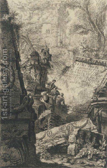Ruins of an ancient tomb in front of ruins of an ancient aqueduct by Giovanni Battista Piranesi - Reproduction Oil Painting