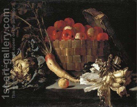 Apples in a wicker basket, with a cabbage, parsnip, lettuce and an apple on a stone ledge by Giuseppe Recco - Reproduction Oil Painting