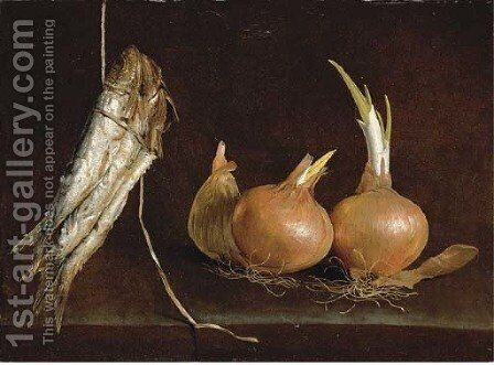 Sardines suspended from twine and onions on a stone ledge by Giuseppe Recco - Reproduction Oil Painting