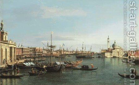The Bacino di San Marco, looking east from the mouth of the Giudecca, the Dogana and the Riva degli Schiavone to the left and San Giorgio Maggiore by (Giovanni Antonio Canal) Canaletto - Reproduction Oil Painting
