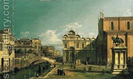 The Campo Santi Giovanni e Paolo, Venice, with the West End of the Church and the Scuola di San Marco by (Giovanni Antonio Canal) Canaletto - Reproduction Oil Painting