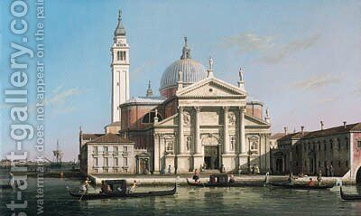 The Church of S. Giorgio Maggiore, Venice, with sandalos and gondolas by (Giovanni Antonio Canal) Canaletto - Reproduction Oil Painting