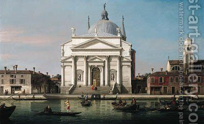 The Church of the Redentore, Venice, with sandalos and gondolas by (Giovanni Antonio Canal) Canaletto - Reproduction Oil Painting