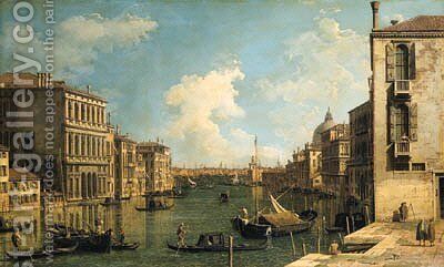 The Grand Canal, Venice, looking east from the Campo di San Vio, with the Palazzo Corner, barges and gondolas, the dome of Santa Maria della Salute by (Giovanni Antonio Canal) Canaletto - Reproduction Oil Painting