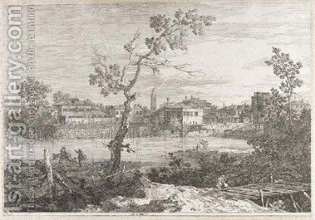 View of a Town on a River Bank 2 by (Giovanni Antonio Canal) Canaletto - Reproduction Oil Painting
