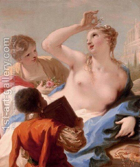 Bathsheba at her toilet by Giovanni Antonio Pellegrini - Reproduction Oil Painting