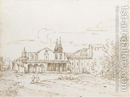 A Roman basilica with a round church beyond, said to be San Giovanni Laterano by Giovanni Battista Busiri - Reproduction Oil Painting