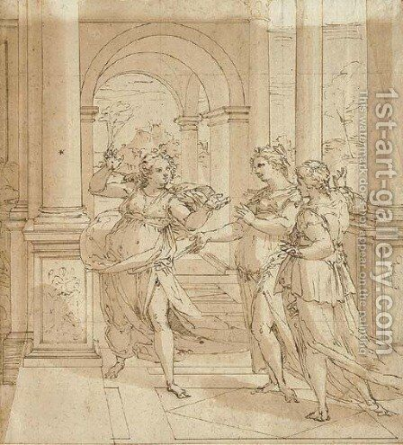 Psyche telling her sisters of her lover by Giovanni B. (Il Genvovese) Castello - Reproduction Oil Painting