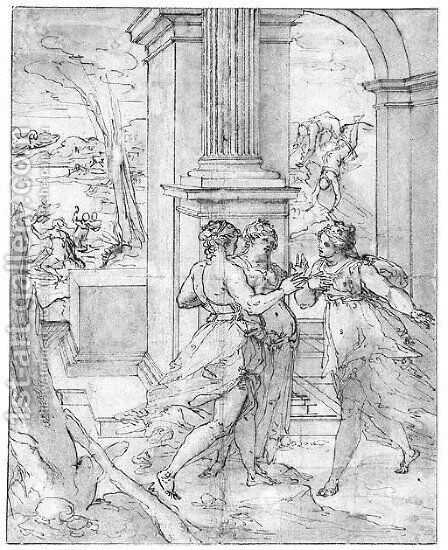 Three Women under a Portico, with Jupiter as a Swan flying towards Leda by Giovanni B. (Il Genvovese) Castello - Reproduction Oil Painting
