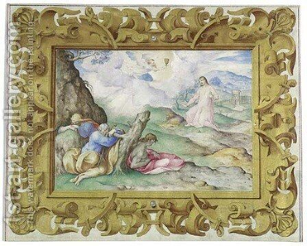 The Agony In The Garden, In A Decorative Frame by Giovanni B. (Il Genvovese) Castello - Reproduction Oil Painting