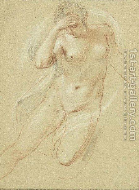 A female nude, three-quarter-length, looking down by Giovanni Battista Cipriani - Reproduction Oil Painting