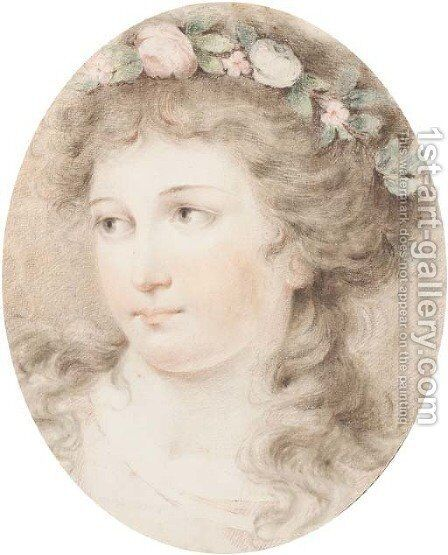 Head of a girl crowned with flowers by Giovanni Battista Cipriani - Reproduction Oil Painting